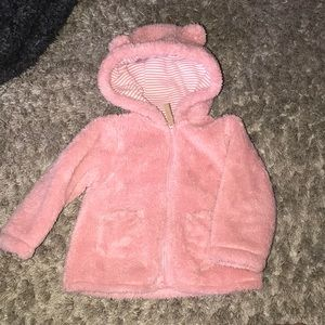 Adorable pink baby girl furry sweater